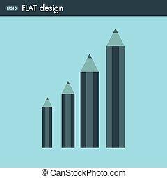 Pencil icon, flat design
