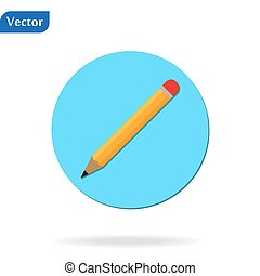 Pencil Icon flat vector illustration logo sign symbol. For mobile user interface eps 10