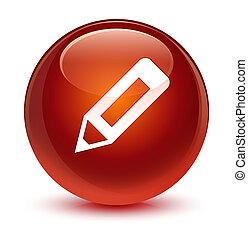 Pencil icon glassy brown round button