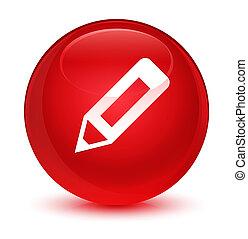 Pencil icon glassy red round button