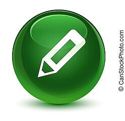 Pencil icon glassy soft green round button