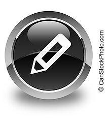 Pencil icon glossy black round button