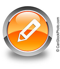 Pencil icon glossy orange round button