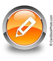 Pencil icon glossy orange round button