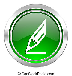 pencil icon, green button, draw sign