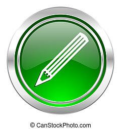 pencil icon, green button