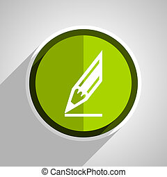 pencil icon, green circle flat design internet button, web and mobile app illustration