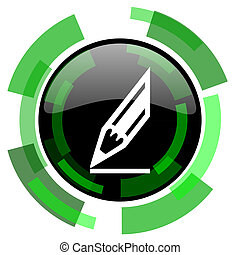 pencil icon, green modern design isolated button, web and mobile app design illustration