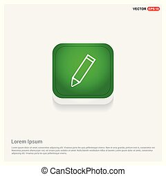 Pencil icon Green Web Button