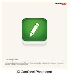 Pencil icon Green Web Button