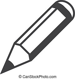 Pencil icon in black on a white background. Vector illustration