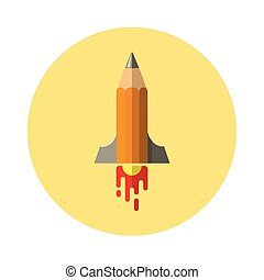 pencil icon in the form of flying missiles