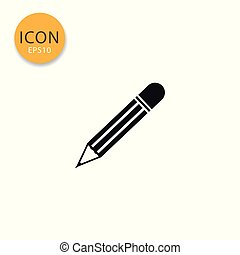Pencil icon isolated flat style.