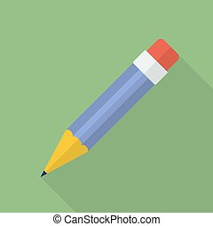 Pencil icon. Modern Flat style with a long shadow