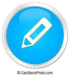 Pencil icon premium cyan blue round button