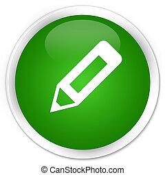 Pencil icon premium green round button