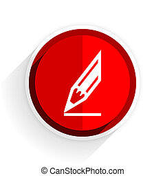 pencil icon, red circle flat design internet button, web and mobile app illustration