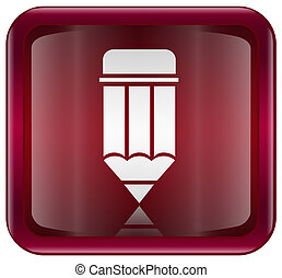 Pencil icon red, isolated on white background