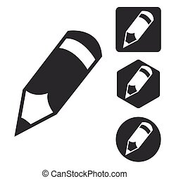 Pencil icon set, monochrome