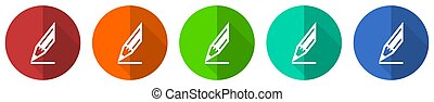 Pencil icon set, red, blue, green and orange flat design web buttons isolated on white background, vector illustration