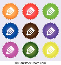 pencil icon sign. A set of nine different colored labels. Vector