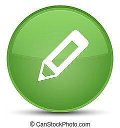 Pencil icon special soft green round button