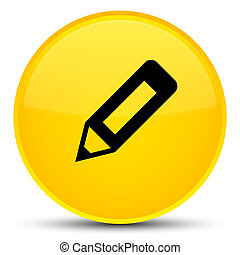 Pencil icon special yellow round button