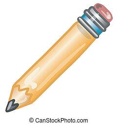 Stylized pencil icon or symbol.