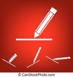 Pencil icon , vector illustration set. Isometric effect