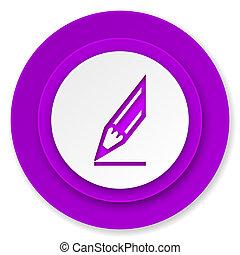 pencil icon, violet button, draw sign