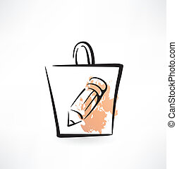 pencil in a paper bag grunge icon