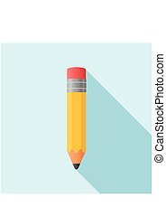 Pencil in Flat style icon. Vector Illustration.