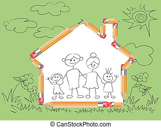 pencil in house shape and doodle family