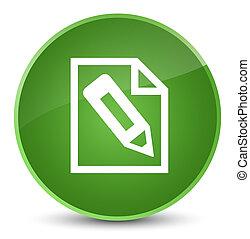 Pencil in page icon elegant soft green round button