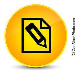 Pencil in page icon elegant yellow round button
