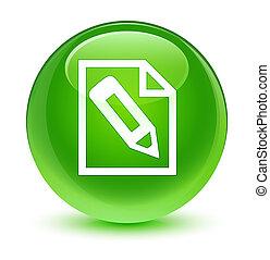 Pencil in page icon glassy green round button