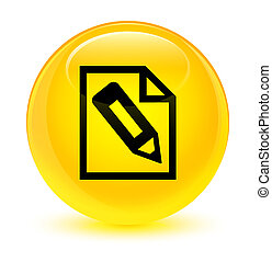 Pencil in page icon glassy yellow round button