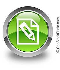 Pencil in page icon glossy green round button