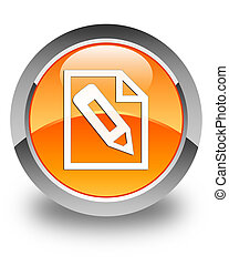 Pencil in page icon glossy orange round button