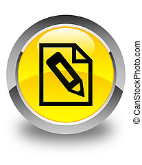 Pencil in page icon glossy yellow round button