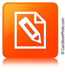 Pencil in page icon orange square button