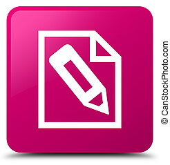 Pencil in page icon pink square button