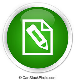 Pencil in page icon premium green round button