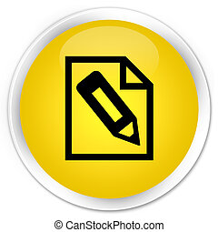 Pencil in page icon premium yellow round button
