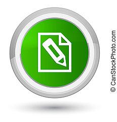 Pencil in page icon prime green round button
