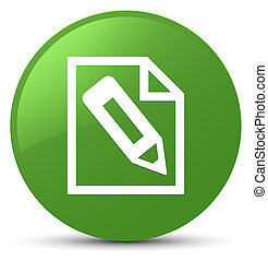 Pencil in page icon soft green round button