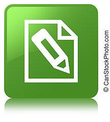 Pencil in page icon soft green square button