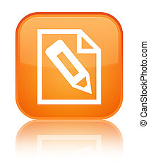 Pencil in page icon special orange square button