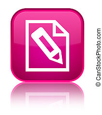 Pencil in page icon special pink square button