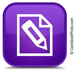 Pencil in page icon special purple square button